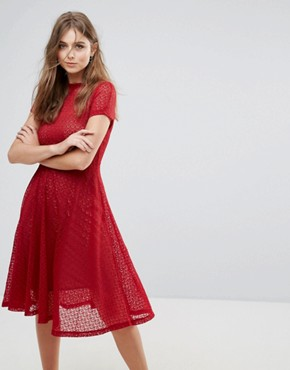 photo Lace Flared Midi Dress by Goldie, color Red - Image 1