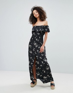 photo Off The Shoulder Maxi Dress in Floral Print by Goldie, color Print - Image 1