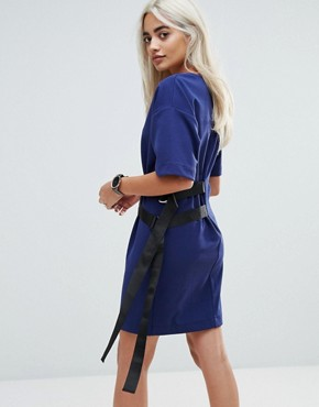 photo D-Ring Detail T-Shirt Dress by ASOS PETITE, color Navy - Image 2