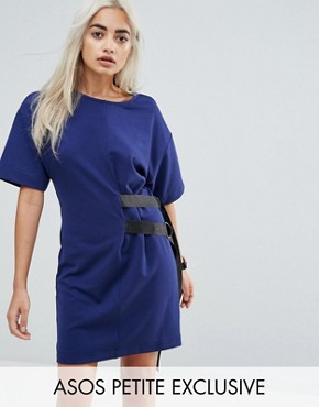 photo D-Ring Detail T-Shirt Dress by ASOS PETITE, color Navy - Image 1