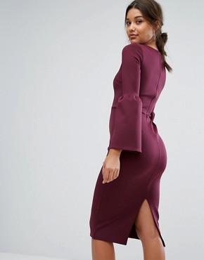 photo Midi Dress with Structured Fluted Sleeve by True Violet, color Dark Berry - Image 2