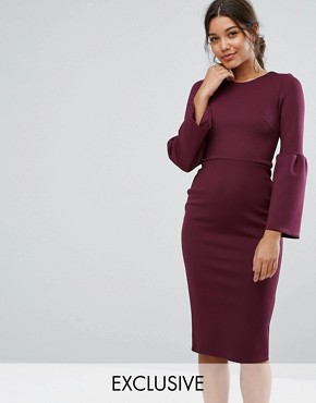 photo Midi Dress with Structured Fluted Sleeve by True Violet, color Dark Berry - Image 1