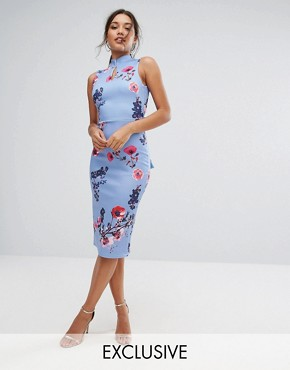 photo High Neck Pencil Dress with Mandarin Collar and Bow Back by True Violet, color Blue - Image 1