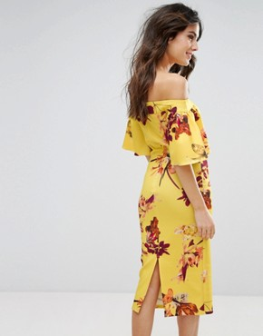 photo Off Shoulder Print Pencil Dress with Frill Sleeve by True Violet, color Yellow Multi - Image 2