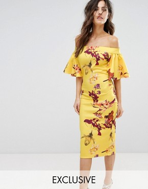 photo Off Shoulder Print Pencil Dress with Frill Sleeve by True Violet, color Yellow Multi - Image 1