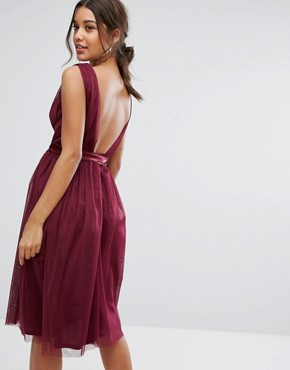 photo Midi Tulle Dress with Satin Band by True Violet, color Deep Purple - Image 2