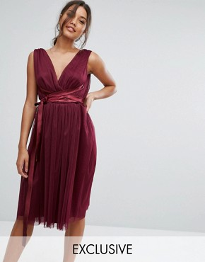 photo Midi Tulle Dress with Satin Band by True Violet, color Deep Purple - Image 1