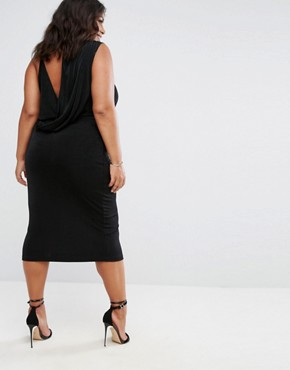 photo Slinky Asymmetric Drape Back Midi by ASOS CURVE, color Black - Image 2