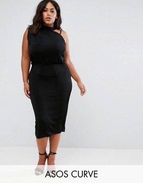 photo Slinky Asymmetric Drape Back Midi by ASOS CURVE, color Black - Image 1