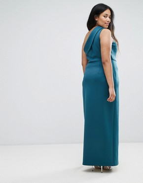 photo One Shoulder Maxi Dress with Exposed Zip by ASOS CURVE, color Teal - Image 2
