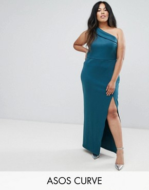 photo One Shoulder Maxi Dress with Exposed Zip by ASOS CURVE, color Teal - Image 1