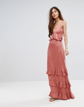 photo Ruffle Maxi Dress with Lace Inserts by Y.A.S Studio, color Withered Rose - Image 1