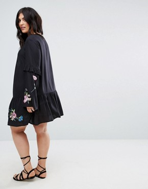 photo Mini Embroidered Smock Dress by ASOS CURVE ULTIMATE, color Black - Image 2