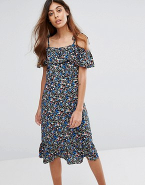 photo Cold Shoulder Floral Midi Dress by Trollied Dolly, color Black Forget Me Not - Image 1