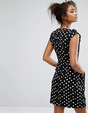 photo Cute Crossover Heart Print Dress by Trollied Dolly, color Black White - Image 2