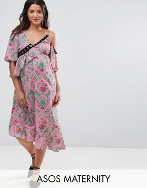 photo Eyelet Floral Satin Maxi Dress by ASOS Maternity, color Multi - Image 1