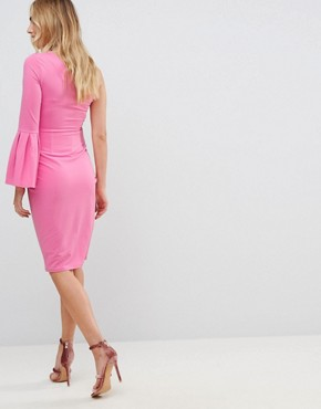 photo Crepe One Shoulder Drama Sleeve Midi Dress by ASOS Maternity, color Pink - Image 2