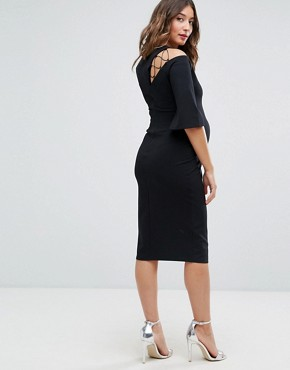 photo Fluted Sleeve Shift Dress with Ladder Detail by ASOS Maternity, color Black - Image 2