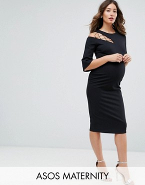 photo Fluted Sleeve Shift Dress with Ladder Detail by ASOS Maternity, color Black - Image 1