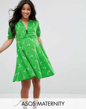 photo Short Sleeve Floral Tea Dress with Zip Detail by ASOS Maternity, color Green - Image 1