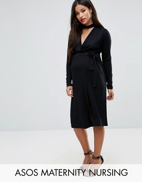 photo Dress with Wrap and Choker Detail by ASOS Maternity NURSING, color Black - Image 1