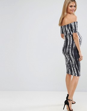 photo Off Shoulder Bardot Dress in Painted Stripe by ASOS Maternity, color Black White - Image 2