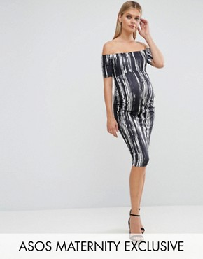 photo Off Shoulder Bardot Dress in Painted Stripe by ASOS Maternity, color Black White - Image 1
