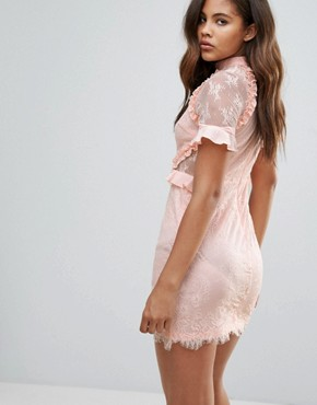 photo High Neck Dress with Ruffle Detail in Lace by Fashion Union Tall, color Pink - Image 2