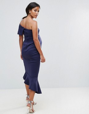 photo Scuba One Shoulder Pephem Midi Dress by ASOS Maternity, color Navy - Image 2