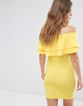 photo Frill Bardot Bodycon Dress by New Look, color Yellow - Image 2