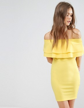 photo Frill Bardot Bodycon Dress by New Look, color Yellow - Image 1