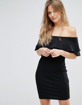 photo Frill Bardot Bodycon Dress by New Look, color Black - Image 1