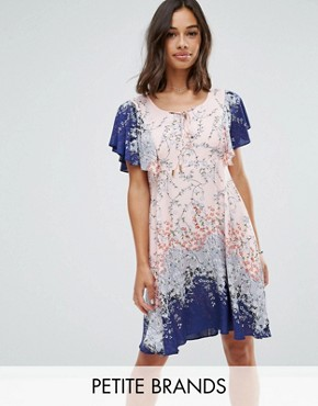 photo Frill Sleeve Dress in Blossom Print by Yumi Petite, color Blush - Image 1