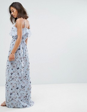 photo Frill Top Maxi Dress in Blossom Print by Yumi Petite, color Blue - Image 2