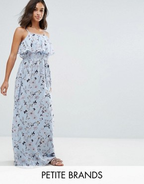 photo Frill Top Maxi Dress in Blossom Print by Yumi Petite, color Blue - Image 1