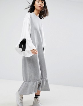 photo Open Back Sweat Dress with Contrast Balloon Sleeves by ASOS WHITE, color Grey - Image 2