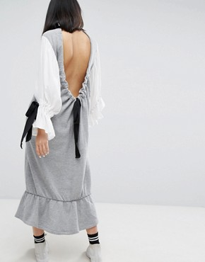 photo Open Back Sweat Dress with Contrast Balloon Sleeves by ASOS WHITE, color Grey - Image 1