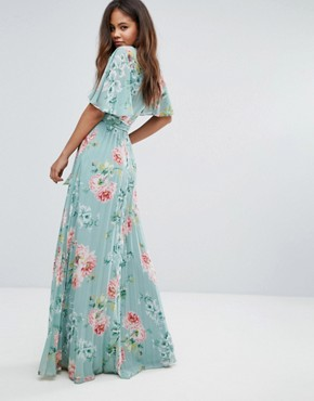 photo Pleated Maxi Dress in Floral Print by ASOS TALL, color Floral - Image 2