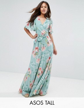 photo Pleated Maxi Dress in Floral Print by ASOS TALL, color Floral - Image 1