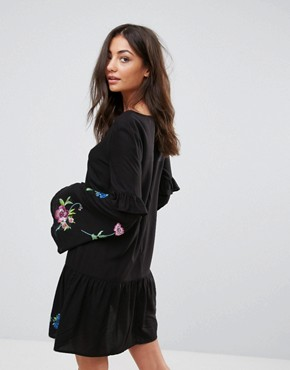photo Mini Embroidered Smock Dress by ASOS TALL ULTIMATE, color Black - Image 2