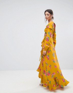 photo Long Sleeve Wrap Maxi Tea Dress in Bold Floral by ASOS TALL, color Multi - Image 2