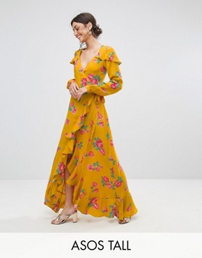 photo Long Sleeve Wrap Maxi Tea Dress in Bold Floral by ASOS TALL, color Multi - Image 1
