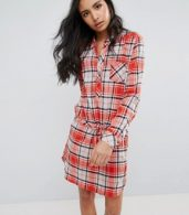 photo Madison Checked Shirt Dress by Pepe Jeans, color Burnt Orange - Image 1