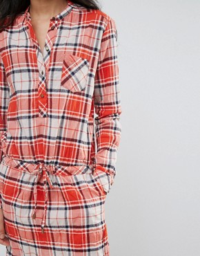 photo Madison Checked Shirt Dress by Pepe Jeans, color Burnt Orange - Image 3