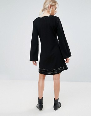 photo Janet Flared Long Sleeve Dress by Pepe Jeans, color Black - Image 2