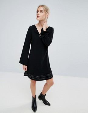 photo Janet Flared Long Sleeve Dress by Pepe Jeans, color Black - Image 1