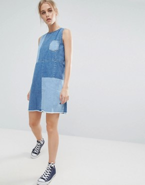 photo Lapis Patchwork Denim Shift Dress by Pepe Jeans, color Denim - Image 1