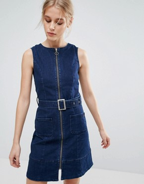 photo Penelope Denim Zip Through Belted Dress by Pepe Jeans, color Denim - Image 1