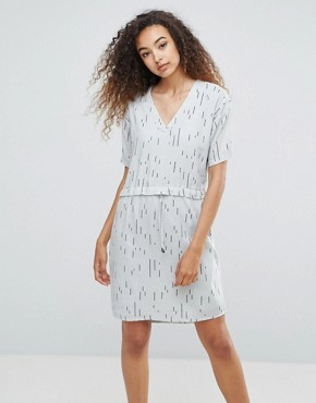 photo Printed Shift Dress by Ichi, color Mirage Gray - Image 1