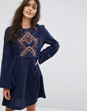 photo Embroidered Smock Dress by Suncoo, color Night Blue - Image 1